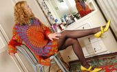 ePantyhose Land Florence Curly Chick Enjoying Reflection Of Her Sexy Pantyhosed Legs In The Mirror ePantyhose Land