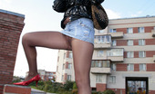 ePantyhose Land Milissa Freaky Gal Flashing Upskirt And Her Glossy Pantyhose At The Building Ground ePantyhose Land