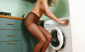 ePantyhose Land AksanaXXX Upskirt Teaser Clad In Control Top Hose Stripping And Posing In The Kitchen ePantyhose Land
