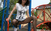 ePantyhose Land Lara Sassy Girl Gets To Nasty Outdoor Upskirt Tease In Her Barely Black Tights ePantyhose Land