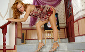 ePantyhose Land Florence Curly Beauty In Silky Tights Revealing Her Sexy Body Right On Stone Stairs ePantyhose Land