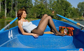 ePantyhose Land Harriet Lusty Chick In Slight Sheen Pantyhose Knows The Best Entertainment In Boat ePantyhose Land