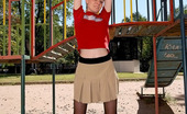 ePantyhose Land Rachel Frisky Babe In Barely Black Pantyhose Doing Some Exercises At Sports Ground ePantyhose Land