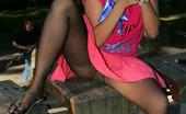 ePantyhose Land Alice Brazen Babe Getting To Outdoor Upskirt Flashing In Her Sheer Black Tights ePantyhose Land