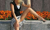 ePantyhose Land Dolores Frisky Blonde Teasingly Flashing The Waistband And Briefs Of Her Pantyhose ePantyhose Land