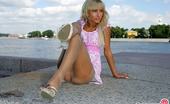 ePantyhose Land Dolores Lovely Blondie Clad In Control Top Hose Flashing Her Yummy Ass In The Sun ePantyhose Land
