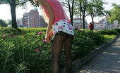 ePantyhose Land Dolores Blonde In Pink Outfit And Black Pantyhose Making A Hot Outdoor Upskirt Show ePantyhose Land