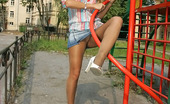 ePantyhose Land Ninette Platinum Blonde In Elegant Shiny Pantyhose Flashing Beaver In Public Places ePantyhose Land