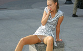 ePantyhose Land Essie Long-Legged Girl In Satin Gown And Shiny Pantyhose Getting To Risky Upskirt ePantyhose Land