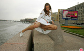 ePantyhose Land Julia Stunningly Beautiful Gal Teasing With Her Flying Skirt And Smooth Pantyhose ePantyhose Land