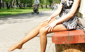 ePantyhose Land Penelope Cutie In Tan Pantyhose Getting The Most From Flashing Upskirt On The Bench ePantyhose Land