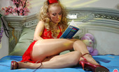 ePantyhose Land Emilia Curly Chick Reading Book And Caressing Her Pussy In Soft Silky Pantyhose ePantyhose Land