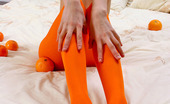 ePantyhose Land Milared Flexi Gal In Orange Pantyhose Revealing Her Wild Imagination In Nylon Games ePantyhose Land