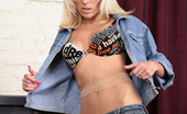 ePantyhose Land Noelle Blondie Taking Off Her Denim Aching To Feel Sheer Nylon On Her Yummy Pussy ePantyhose Land