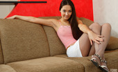 ePantyhose Land Vilena Naughty Gal Pulling Up Her Stretchy Grey Pantyhose Flashing Her Hairy Pussy ePantyhose Land