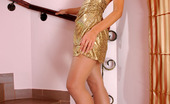 ePantyhose Land Annabel Sexy Girl In A Golden Dress Enjoying The Feel Of Her Barely Visible Tights ePantyhose Land