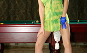 ePantyhose Land Helga Nasty Babe Licking A Billiard Cue And Fingering In Her Barely Visible Hose ePantyhose Land
