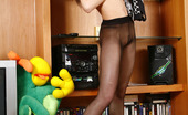 ePantyhose Land Sinty Leggy Babe Clad In Her Black Sheer-To-Waist Hose And High Heels Posing Sexy ePantyhose Land