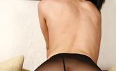 ePantyhose Land Oksana Dolled-Up Brunette Wearing Her Black Control Top Pantyhose With No Panties ePantyhose Land