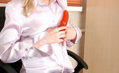 ePantyhose Land Paulina Blonde Secretary Strips To Her Natural Tights Having Fun With A Red Dildo ePantyhose Land