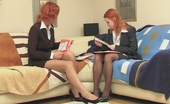ePantyhose Land Clara & Hannah Redhead Female Co-Workers Savoring Luxury Hosiery During Their Lunch Hour ePantyhose Land