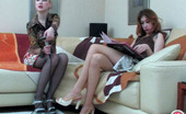 ePantyhose Land Sylvia & Clare Gorgeous Chicks Singing Songs Before Getting To Pantyhose Games On The Sofa ePantyhose Land