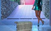 ePantyhose Land Helga Slim-Legged Cutie Strips Uniform Flashing Her Ass And Pink Thru Sheer Hose ePantyhose Land
