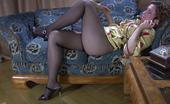 ePantyhose Land Jaclyn Hot Babe Lying On The Bed Flashes A Cotton Crotch Of Her Barely Black Hose ePantyhose Land