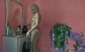 ePantyhose Land Martha Leggy Blonde Trying On Grey Control Top Pantyhose And Fancy Stripy Fishnets ePantyhose Land