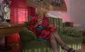ePantyhose Land Janet Blonde Strips Off Her Oriental Attire And Rips Tights For Dildo Insertion ePantyhose Land