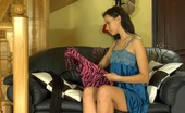 ePantyhose Land Irene Dark-Haired Cutie Smoothing Black Control Top Pantyhose On Her Shapely Legs ePantyhose Land