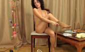 ePantyhose Land Fanny Smiley Curly-Head Teasingly Shows Her Goodies Thru White Lacy And Nude Hose ePantyhose Land