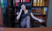 ePantyhose Land Sibylla Sexy Female Employee Changes Her Laddered Tights For New Ones Right At Work ePantyhose Land