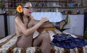 ePantyhose Land Katharine Nude Girl In Specs Wears Her Cool Brown Hose With Black Strappy High Heels ePantyhose Land
