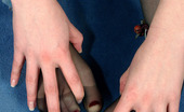 Nylon Feet Line Gloria Spicy Chick In Black Sheer-To-Waist Hose Embellishing Her Feet With Beads Nylon Feet Line