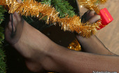 Nylon Feet Line Liloo Frisky Babe Rubbing Her Nyloned Feet Against Fir-Needles Of Christmas Tree Nylon Feet Line