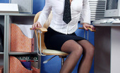 Nylon Feet Line Christiana Vivacious Secretary In Soft Silky Pantyhose Playing With Whatever'S Handy Nylon Feet Line