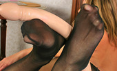 Nylon Feet Line Maria Hottie In Black Hose Taking Off Her Jeans To Play With Double-Headed Dildo Nylon Feet Line