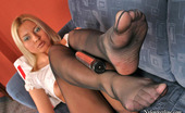 Nylon Feet Line Mia Extremely Sexy Blonde Babe Caressing Her Pantyhose Clad Pussy With Dildo Nylon Feet Line