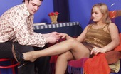 Nylon Feet Line Susanna & Adam Sizzling Hot Guy Sniffing Open Platform Shoe Before Savoring Nylon Footjob Nylon Feet Line