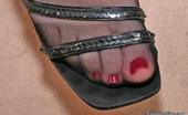 Nylon Feet Line Mia Luscious Blonde Babe Tries To Eat With The Help Of Her Pantyhose Clad Feet Nylon Feet Line