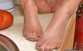 Nylon Feet Line Marianne Lascivious Blonde Gal In Shiny Pantyhose Getting Horny Right In The Kitchen Nylon Feet Line