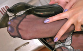 Nylon Feet Line Dolores Irresistibly Sexy Babe In Smooth Pantyhose Tongue-Tickling Her Nyloned Feet Nylon Feet Line