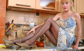Nylon Feet Line Edna Blonde Babe Revealing Her Pantyhose Clad Pussy In Irresistibly Tempting Way Nylon Feet Line