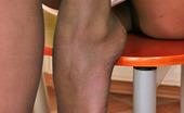 Nylon Feet Line Irene Luscious Blonde Demonstrating Tempting Views Of Her Pantyhose Clad Legs Nylon Feet Line