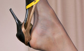 Nylon Feet Line Clare Steaming Hot Babe In Black Sheer-To-Waist Tights Eating Banana In Kinky Way Nylon Feet Line
