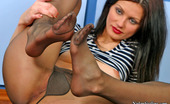 Nylon Feet Line Emmie Voluptuous Chick Can'T Help Teasing With Her Newly Bought Nylon Pantyhose Nylon Feet Line