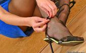 Nylon Feet Line Emmie Nasty Brunette Admiring Her Long Legs In Barely Black Sheer-To-Waist Tights Nylon Feet Line