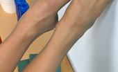 Nylon Feet Line 563675 Svetlana Cutie In Silky Grey Tights Spreading Her Legs To Expose Her Snatch Close-Up Nylon Feet Line