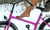 Nylon Feet Line Dinah Frisky Chick Going On A Cycle Ride Right In Her Silky Pantyhose In Winter Nylon Feet Line